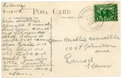 This postcard view of Main Street in Eskridge bears a postmark of August 14, 1913.