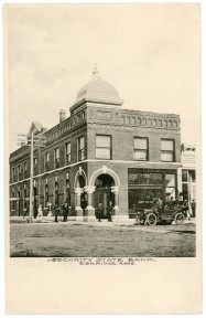This 1908 view of the Security State Bank in Eskridge, Kansas was produced by The Albertype Company.