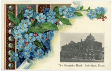 This advertising postcard was produced for the Security State Bank in Eskridge in about 1910.