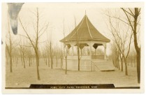 When the photograph for this Zercher card was created the trees in the Eskridge City Park were quite young.