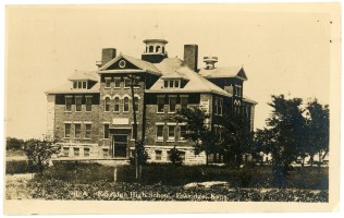 The Eskridge High School was virtually new when this 1910 photograph was taken for a Zercher real photo postcard.