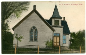 This colorized real photo postcard showing the M.E. Church in Eskridge bears a postmark of January 1, 1908.