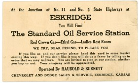Not a postcard, but a trade card, this printed card advertises Haubold & Burnett's Standard Oil Service Station which was also the Chevrolet and Dodge Sales and Service dealership.
