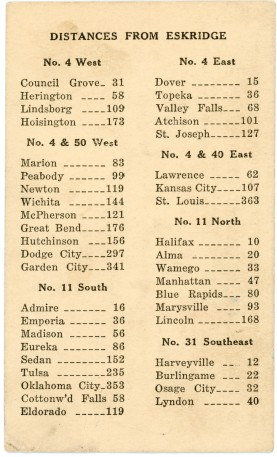 The reverse of this trade card has a listing of Kansas towns and their distances from Eskridge.