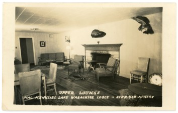 This real photo postcard shows the upper lounge at Cap MacKenzie's Lake Wabaunsee Lodge, located three miles west of Eskridge, Kansas.