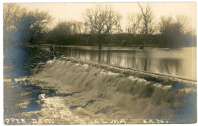 This view of the upper dam on Mill Creek at Louis Palenske's flour mill at Alma, Kansas dates from about 1908.