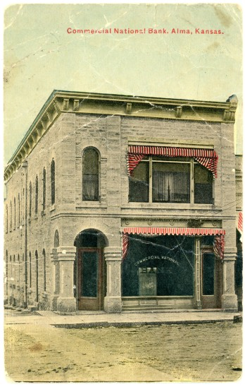 This colorized photo postcard of Louis Palenske's Commercial National Bank at Alma bears a postmark date of 1911.