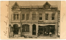This 1908 view of the Kinne & Kearns Building was offset printed from a photograph rather than being produced with photographic chemicals and photo paper.