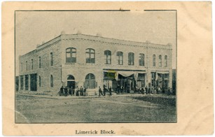 This 1906 view of the Limerick Block in Alma, Kansas was produced by offset printing rather than being produced with photographic paper.