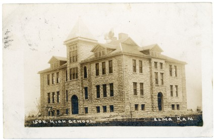 Construction on Alma's second high school was almost complete when this real photo postcard photograph was taken in late 1906 or early 1907. Notice that the steps and sidewalks had yet to be constructed.