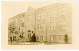 The new Alma High School, seen here, was constructed as a Works Progress Administration public works project during the Great Depression.