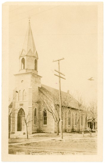 The German Evangelical Church, located at the corner of 4th and Grand in Alma, is seen in this Zercher real photo postcard bearing the postmark date of 1913.