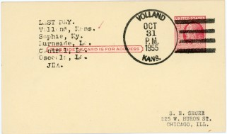 This postcard shows a Volland, Kansas postmark of October 31, 1955 on the last day that the U.S. Post Office operated in Volland.