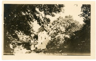 The Strowig brothers mill, located on Mill Creek at Snokomo Road at the site of the first town of Paxico, is the subject of this Zercher real photo postcard, postmarked 1911.