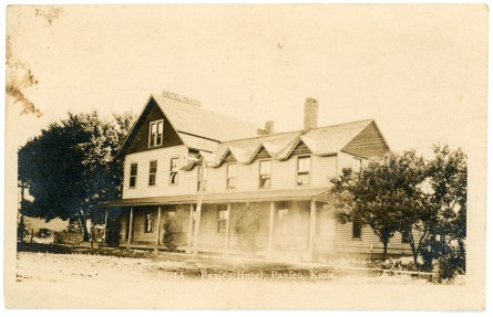 The Paxico Hotel, located at 201 Newbury Street in Paxico, was moved from the town of Newbury in 1887 when the new town of Paxico was established by the Rock Island Railway.