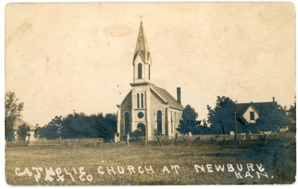 The Sacred Heart Catholic Church at Newbury, Kansas is seen in this 1907 real photo postcard.