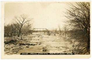 This view of the bridge over Mill Creek at the Romick crossing at Maple Hill is dated 1908 and was produced by postcard photographer, J. Bowers.