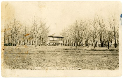 This real photo postcard by Zercher, shows a bandstand located in the City Park of Alta Vista, Kansas.