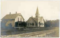 The Baptist Church and parsonage are the subjects of this real photo postcard, dated December of 1907.