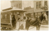 This real photo postcard showing the intercity horse-drawn trolley at Strong City, Kansas dates from about 1910.