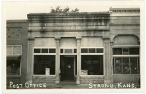 The U. S. Post Office at Strong, Kansas is the subject of this real photo postcard. Commonly, the town is also known as Strong City.