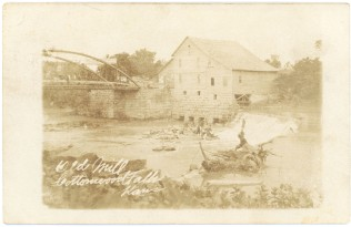 This real photo postcard view of the old mill at Cottonwood Falls bears a postmark date of 1910.