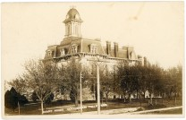 This real photo postcard view of the Chase County Courthouse at Cottonwood Falls bears a postmark date of 1910.