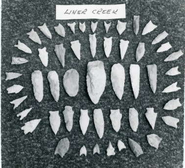 Carl Hoots photographed these artifacts found at the Liner Creek Site on Norfork Lake.