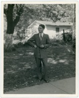 Friedrich Meditz poses for a photo in Kansas City, Kansas shortly after his arrival in 1950.
