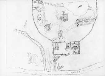This sketch shows the relative locations of the buildings at Ozarka Village. The top of this map points west.