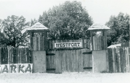 This view of the fort at Ozarka Village was taken in June of 1970, two months before the business opened. Notice that the Ozarka sign had yet to be installed on the sign tower.