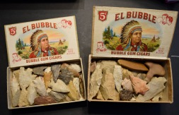 These two cigar boxes of arrowheads are from the Carl F. Hoots Collection.