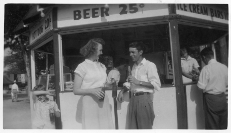 Mary Jean Erker, left, and Friedrich Meditz stop for refreshments while on a date in Kansas City, Kansas, circa 1951.