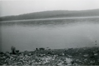 The upper arms of Norfork Lake are narrow, the opposite shorelines are easily visible. This view was taken near Udall in the 1960s.
