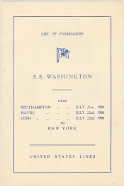 The roll of passengers aboard the S.S. Washington shows the departure dates from ports in England, France, and Ireland.