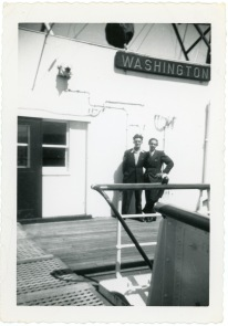 Friedrich Meditz, right, poses with an unidentified passenger aboard the U.S.S. Washington, dated July 25, 1950.