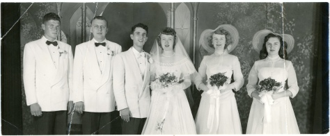 Friedrich and Mary Jean Meditz, center, pose with the two groomsmen and two bridesmaids following the Meditz wedding on July 14, 1951. Seen here from left to right are Tony Preston, Eugene Stalzer, Friedrich Meditz, Mary Jean Meditz, Dorothy Whiles, and Lou Ann Scherzer. The bride's gown and bridesmaids' dresses barely made it to the wedding.