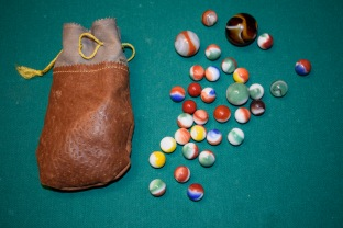 These marbles, produced by The Akro Agate Co., were gifted to Brent Crow by his grandfather, Russell Woofter. Courtesy Brent Crow.