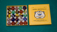 "These box of ""glassies"", containing 25 marbles, sold for 50-cents when they were produced by Akro Agate Co. in the 1930s. This box was given to Brent Crow by his grandfather, Russell Woofter."