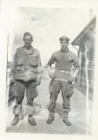 Charlie Barnhart, left, and George Spartichino pose for a photograph while in Holland in 1945.