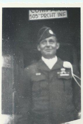 Pfc. Charles E. Barnhart, Escort Company 505th Parachute Infantry, Germany, 1945.