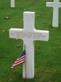 Grave of PFC James A. Wambach, October 31, 1944, Margraten Cemetery, Holland.
