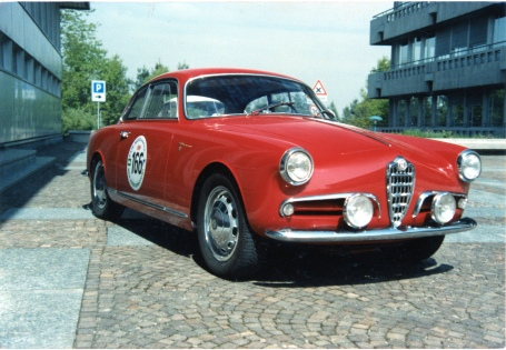 Ken Schaff's 1956 Alfa Romeo Sprint Veloce is seen here in 1989 at the Alfa Romeo Museum at Arese, Italy. Photo by Ken Schaff.