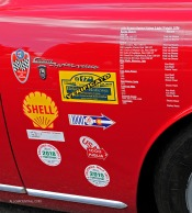 The racing history of this 1956 Alfa Romeo Sprint Veloce Lightweight is displayed on the fender of the car at the 2018 California Mille. Photo by Franklin Cunningham; Courtesy of AllCarCentral.com.