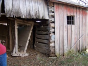 This log blacksmith shop on the Hensel homestead had been sided many years ago, making it resemble a conventional frame building.