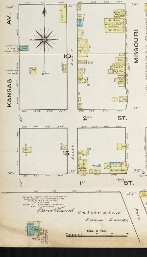 "This Sanborn map from 1885 shows the ""Gnadt cabin"" when it was located in the 100 block of Kansas Avenue (lower left of map)."