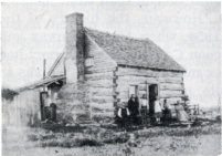 "This unattributed view of the Harvey cabin identifies it as the ""First Post Office of Harvey Settlement"" and appears in the 1976 book, ""New Branches from Old Trees"", published by the Wabaunsee County Historical Society."