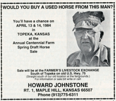 This advertisement for Howard Johnstone's annual horse sale appeared in The Draft Horse Journal.