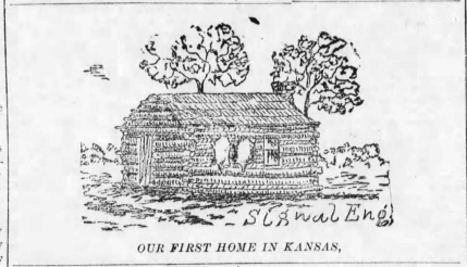"This etching of a log cabin, identified as ""Our First Home in Kansas"", was drawn by Alma Signal publisher Matt Thomson. Thomson's father, James Thomson homesteaded land in Plumb Township, building this cabin in 1856."