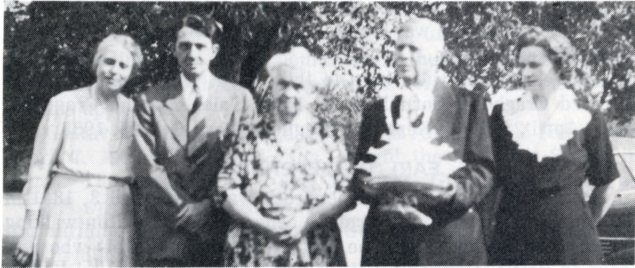 "Members of the C. E. Carroll family, seen in this view which appeared in ""New Branches from Old Trees"", included from left Marguerite Stuewe, Edwin Carroll, Myrtle Carroll, Carey Carroll and Lila Palmer."
